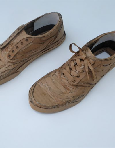 effects of lockdown - shoes made from cardboard